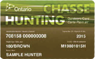 Ontario Hunting License and outdoor card. Click link to purchase from Ontario site.