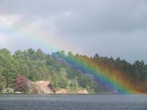 Rainbow over the French River Delta, Northeastern Ontario Canada