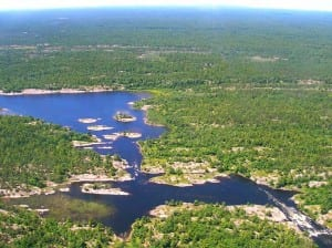 Aerial Photography over the French River's flow into the Georgian Bay.