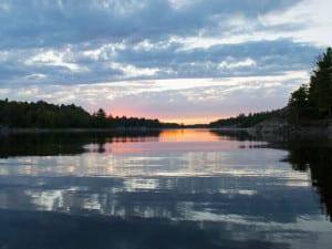 September French River sunset in Northeastern Ontario Canada