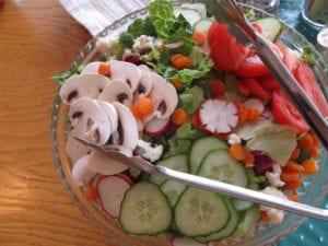 Red tomatoes, mushrooms, cucumbers, radishes, carrots, cauliflower garnish fresh garden salad in a bowl.