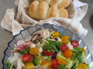 Fresh from the garden, hand tossed salad with bread.
