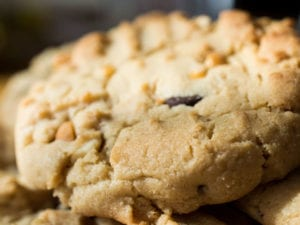 Close up of a bile of penut-butter & chocolate chip cookies.