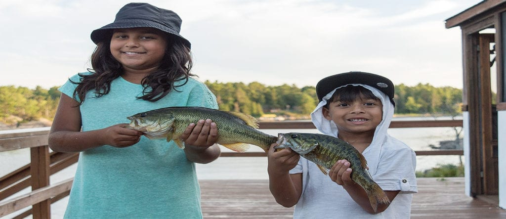 French River Largemouth & Smallmouth Bass, Brother and Sister family fun Ontario wilderness experience