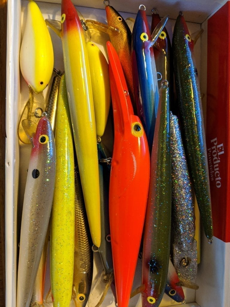 box of lures without their hooks
